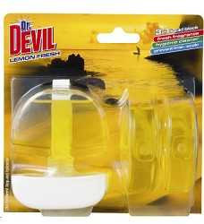 Dr.DEVIL WC blok LEMON FRESH 3x55 ml/12 + koš