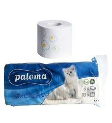 Toaletní papír PALOMA  třívrstvý  - 10x150 / 8+2 zdarma mix druhů