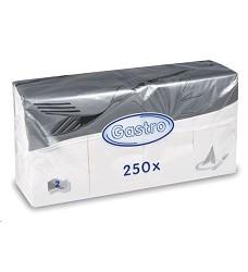 Ubrousky papírové 2-vrstvé 33x33cm bílé 250ks  skládání 1/8 86988